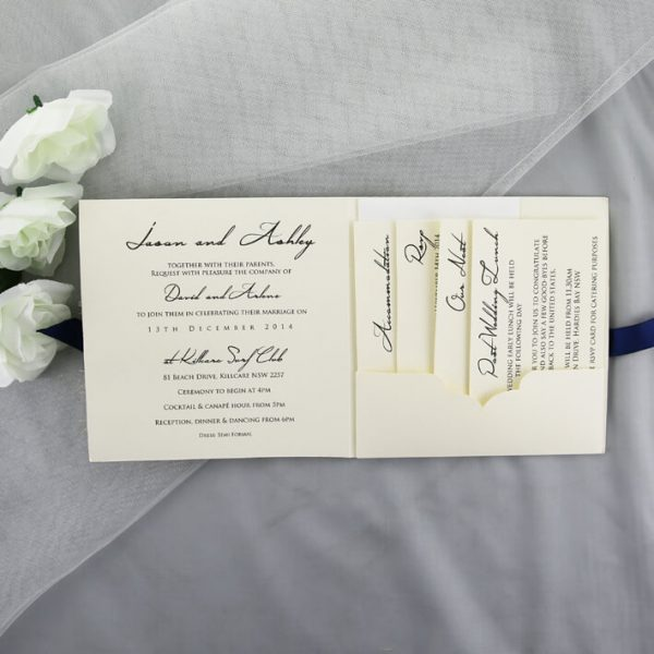 WEDINV155 inside of cream Beach Wedding Invitation with Sisal Wrap and Navy Ribbon
