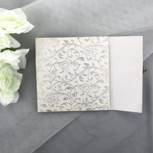 WEDINV16 middle panel of Ivory Floral Square Gatefold Lasercut Invitation
