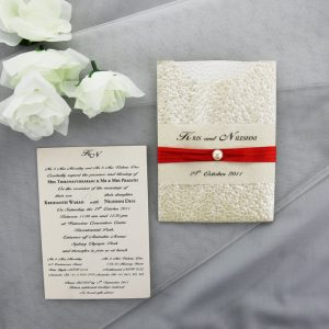 WEDINV55 Cream Pebble Pocket Invitation with Red Ribbon and Pearl and insert
