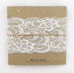 WEDINV106 back of Rustic white and brown lace invitation