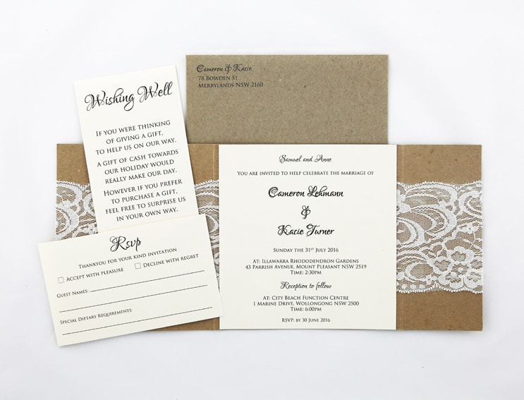 WEDINV106 inside of Rustic white and brown lace invitation with envelope rsvp and wishing well