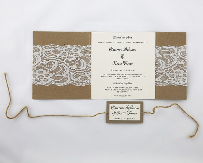WEDINV106 inside of Rustic white and brown lace invitation