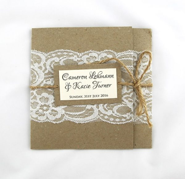 WEDINV106 Rustic white and brown lace invitation