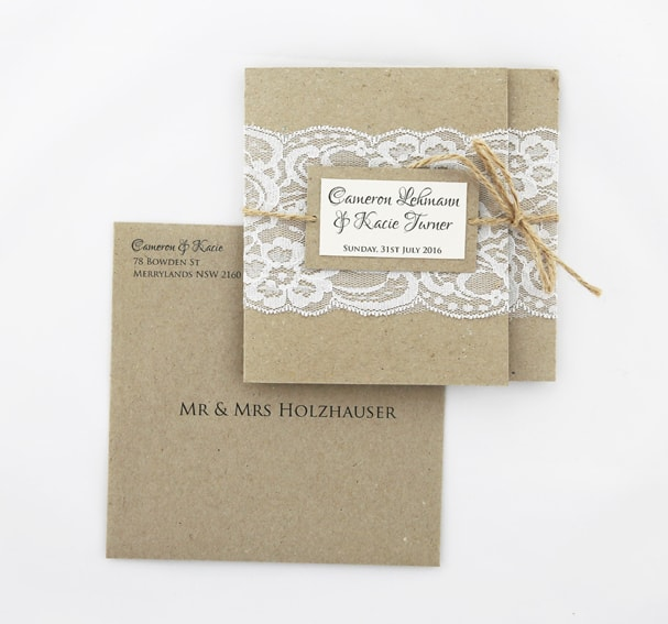 WEDINV106 Rustic white and brown lace invitation with envelope