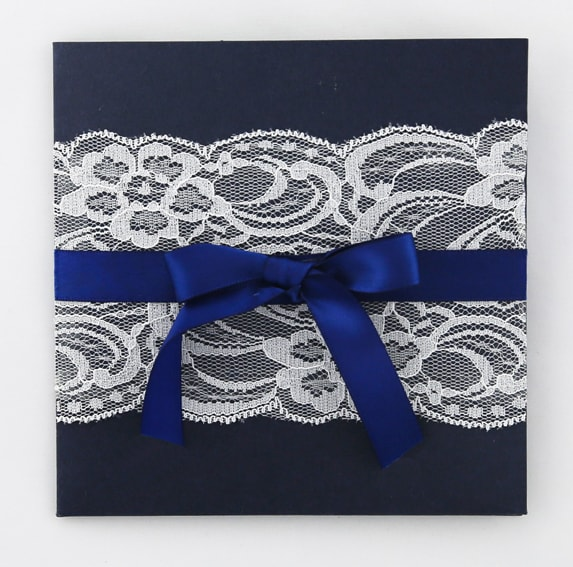 WEDINV107 White lace and blue bow country invitation