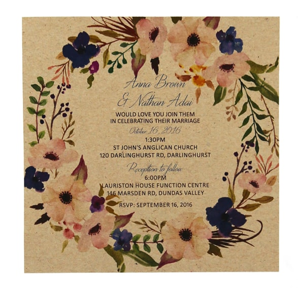 WEDINV125 Watercolour flowers blue and cream on brown card wedding invitation