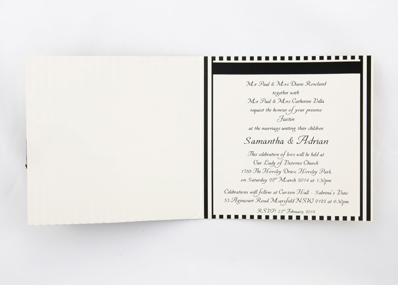 WEDINV141 Black Stripes wedding invitation Black Ribbon and Bow with Diamante inside