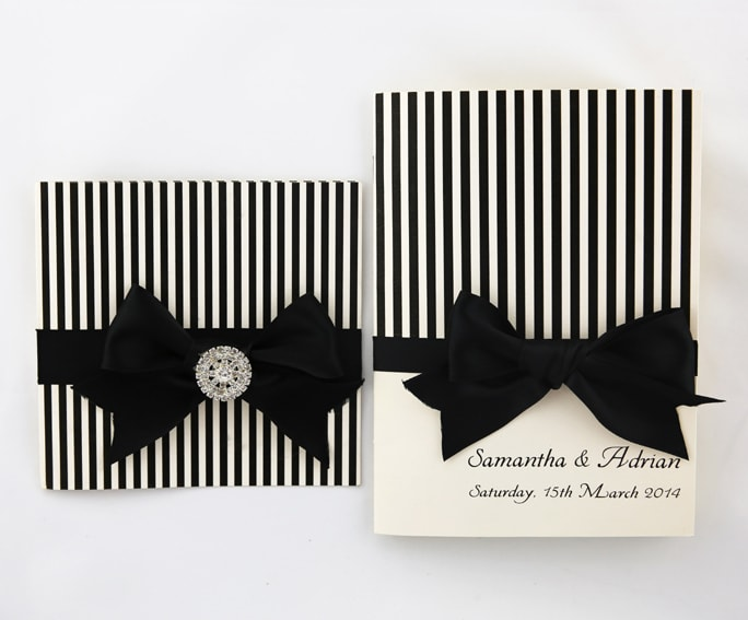 WEDINV141 Black Stripes wedding invitation Black Ribbon and Bow with Diamante with ceremony book