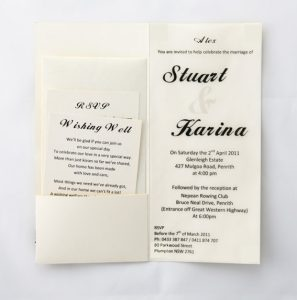 WEDINV29 DL Cream Metallic wedding Invitation with Translucent Pocket Black Satin Ribbon and Bow invitation inside with additional cards