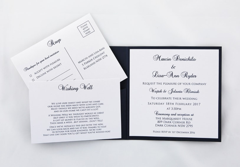 Navy Blue And White Wedding Invite Red Rose Invitations