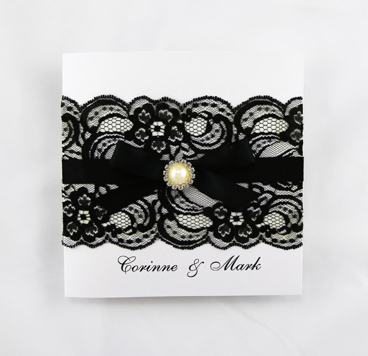 White And Black Lace Wedding Invite