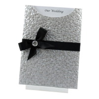 WEDINV75 C6 Silver Pebbles Pocket Invitation with Black Satin Ribbon and Bow with Diamante