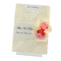 WEDINV79 C6 Bouquet Pocket Invitation with Translucent and Orchids