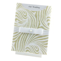 WEDINV84 C6 Venus White and Gold Pocket Invitation with White Satin Ribbon and Pearl