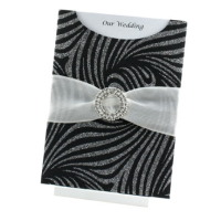 WEDINV86 C6 Venus Black and Silver Glitter Pocket Invitation with White Sheer Ribbon and Circle Diamante