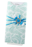 WEDINV95 DL Ritz Teal Glitter Pocket Invitation with Blue Satin Ribbon and Horseshoe Buckle