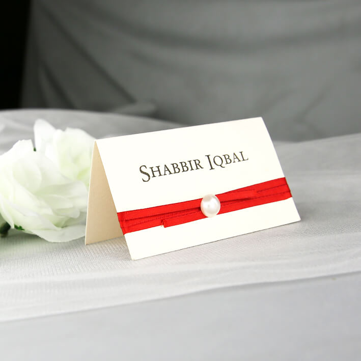 cream and red individual place card red rose invitations