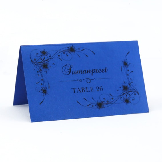PLACAR122 blue printed individual place card