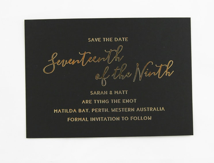 SAVDAT04 Black card with gold foiling