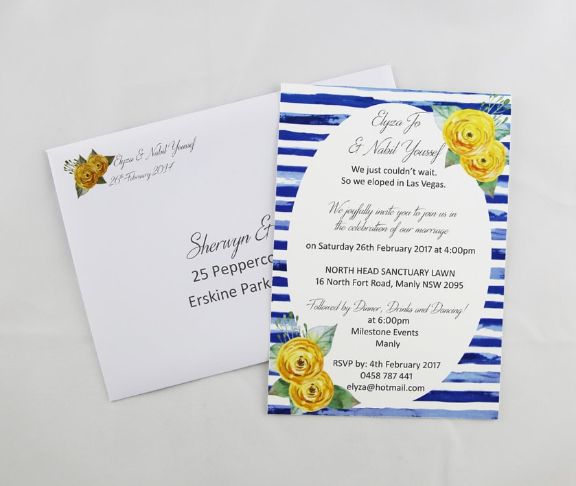 WEDINV101 By the sea blue stripes and yellow flowers printed invitation and envelope