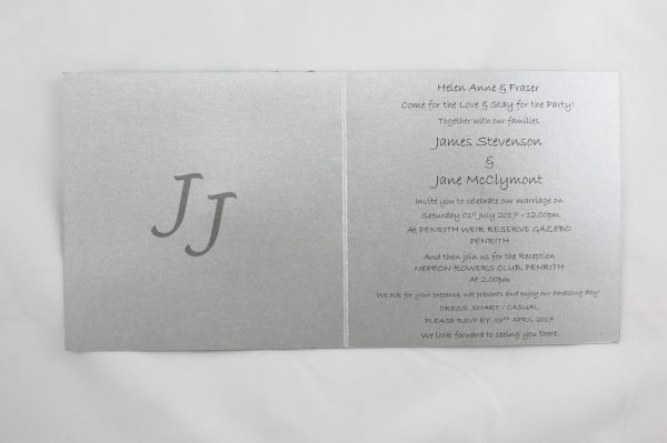 WEDINV119 Inside of Silver and blue wedding invitation