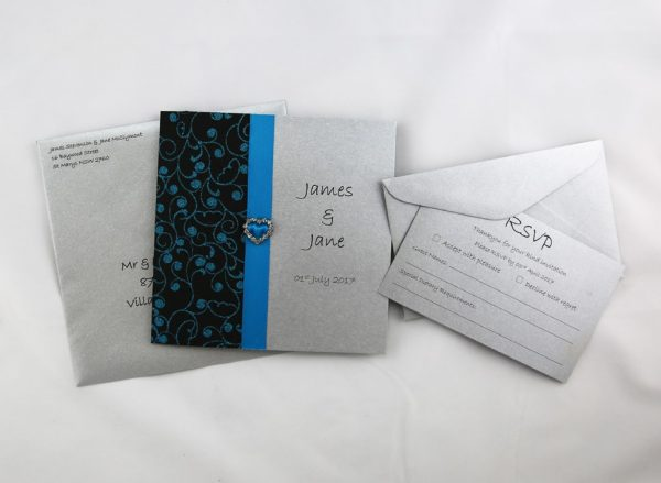 WEDINV119 Silver and blue wedding invitation with heart diamante package