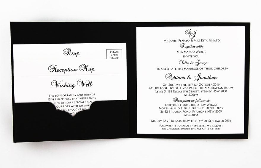 WEDINV158 Black textured wedding invitation with White Pebbles Paper Translucent and Diamantes Inside with pocket