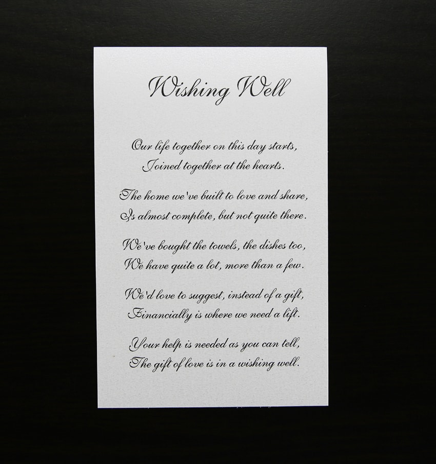 Wishing well for White wedding invitation with Sliver glitter paper and silver ribbon