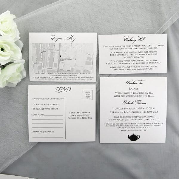 WEDINV33 white wedding cards for invitation pocket