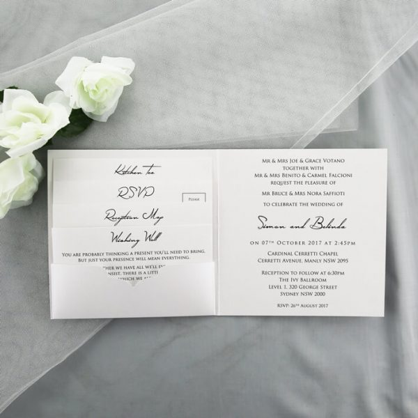 WEDINV33 white wedding cards in invitation pocket