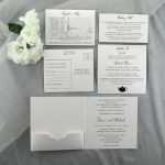 WEDINV33 white wedding cards with invitation pocket