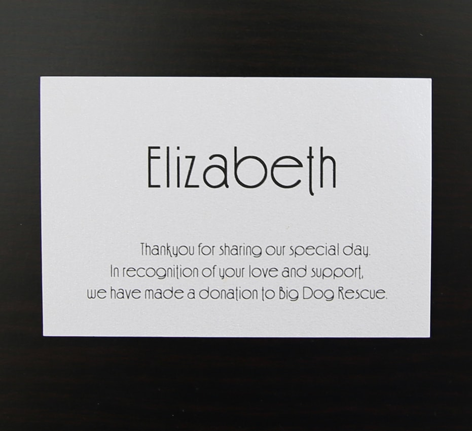 Flat place card on white printed in black