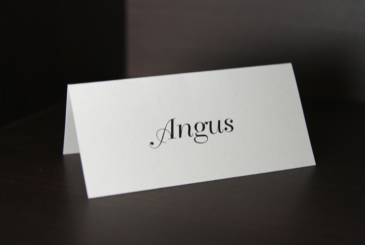 ivory place card printed in black