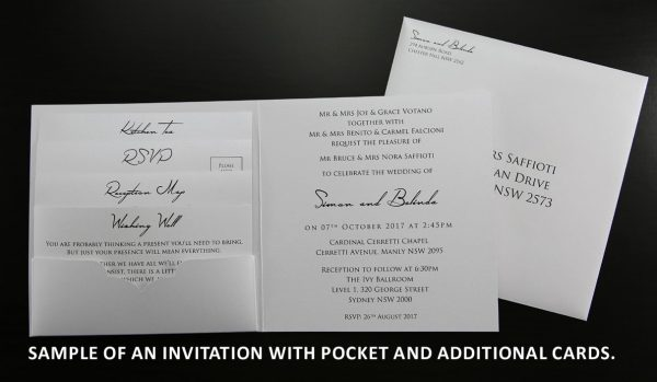 Sample invitation with pocket