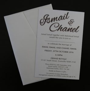WEDIV107 White metallic wedding invitation printed in brown with back of envelope
