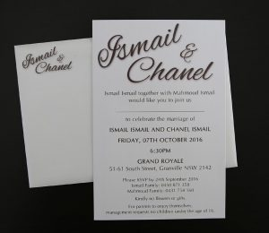 WEDIV107 White metallic wedding invitation printed in brown with envelope