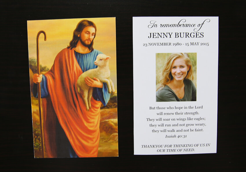 front and back of double sided religious christian rememberance funeral card