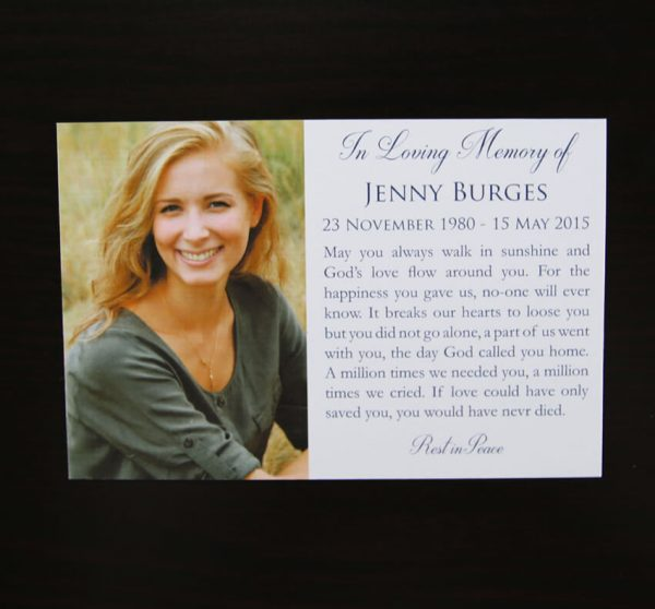religious christian memorial funeral card with photo in blue