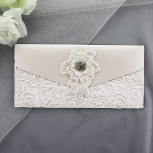 WEDINV104 front of Ivory Pocket Invitation with Lace Diamante and Floral Paper