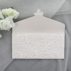 WEDINV104 inside panel of Ivory Pocket Invitation with Lace Diamante and Floral Paper