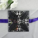 WEDINV118 front of Black Purple and White Lasercut Wedding Invitations