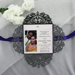 WEDINV118 inside of Black Purple and White Lasercut Wedding Invitations
