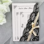 WEDINV129 Vintage White and Black Lace with Brown Ribbon Wedding Invitation