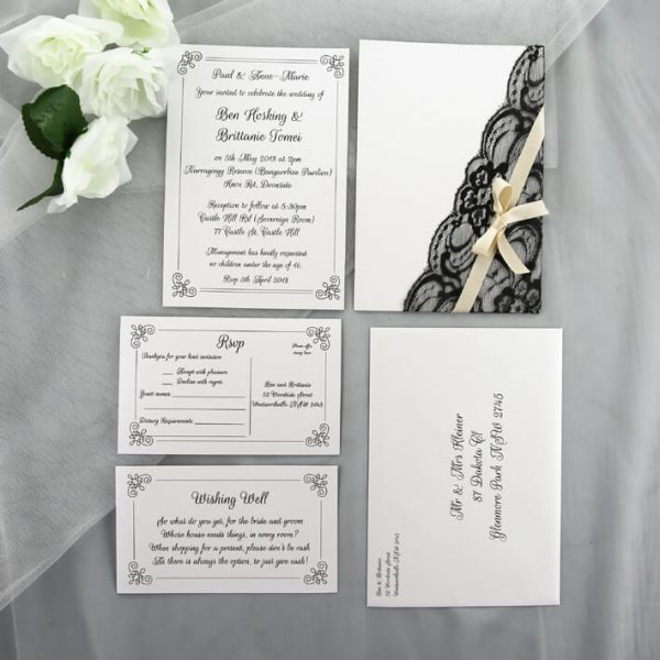 WEDINV129 Vintage White and Black Lace with Brown Ribbon Wedding Invitation set