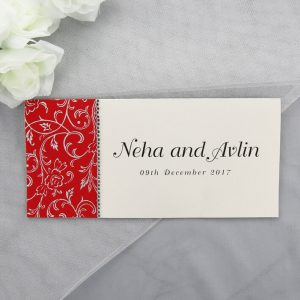 WEDINV132 Red and Cream Indian Wedding Invitations