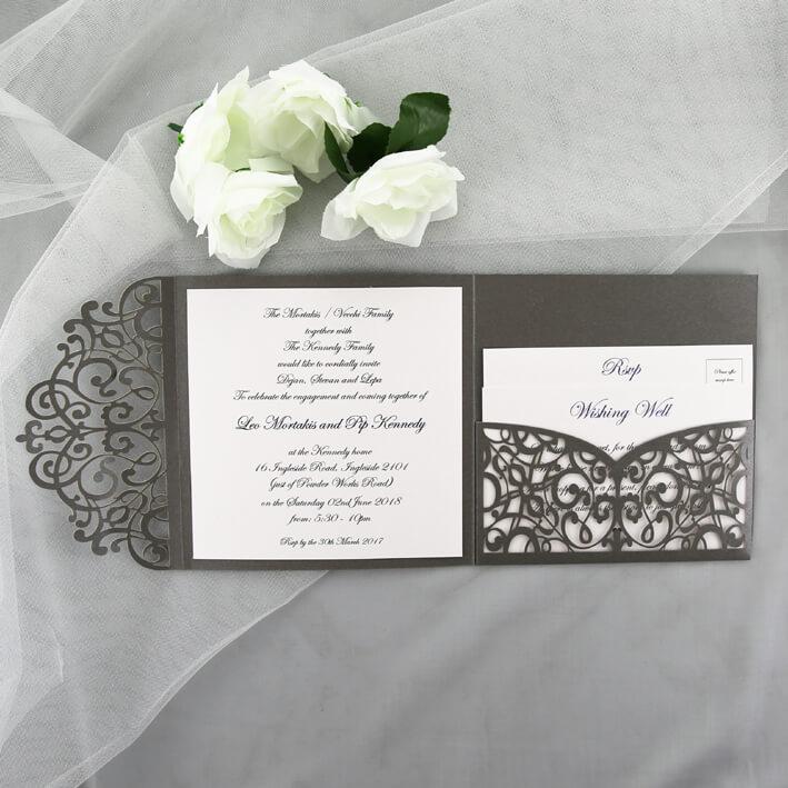 Grey Lasercut Wedding Invitation Red Rose Invitations