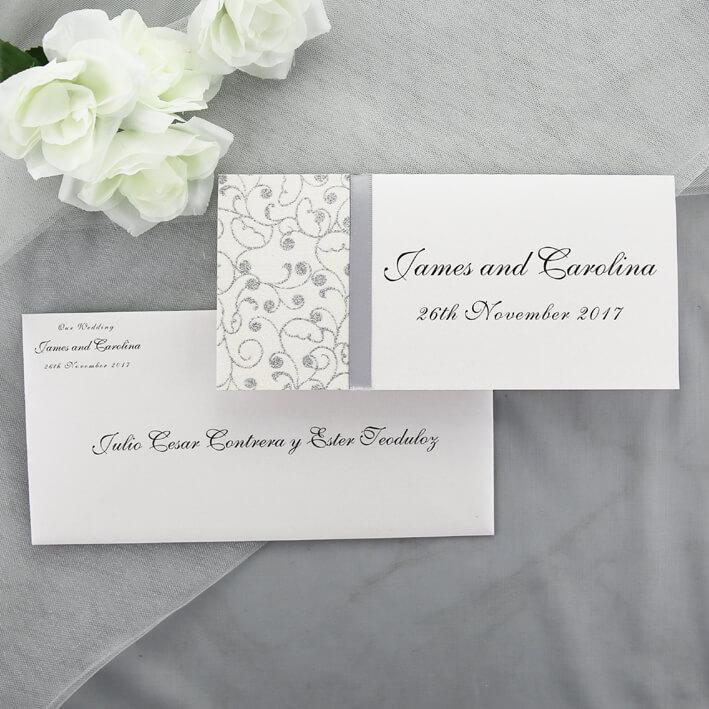 White Wedding Invitations: Silver And White Wedding Invitation