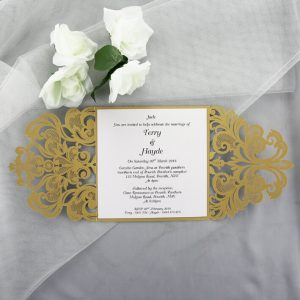 WEDINV53 inside of Gold Square Gatefold Lasercut Invitation