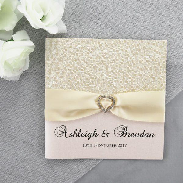 Wedding Invitation Packages Canada: Modern Cream Wedding Invitation