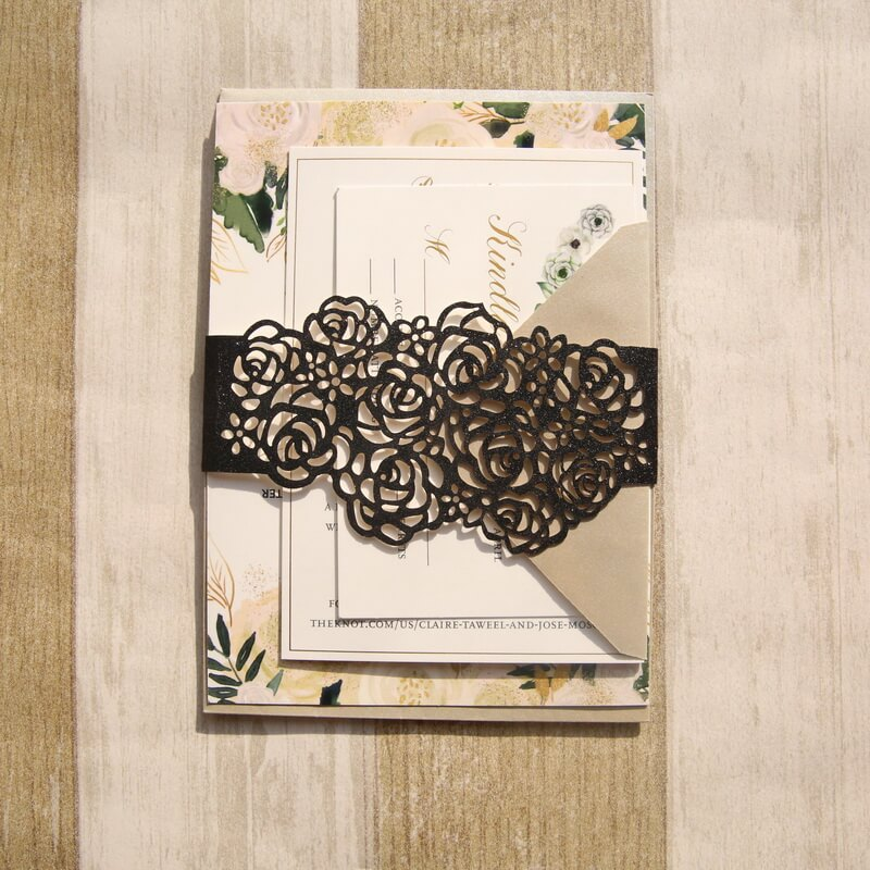BELL001 Black rose Lasercut belly band on invitation